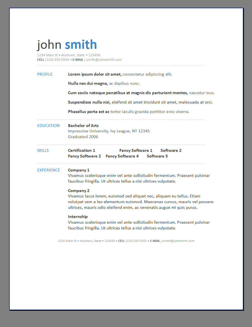 primers 7 free resume templates - Professional Resume Template