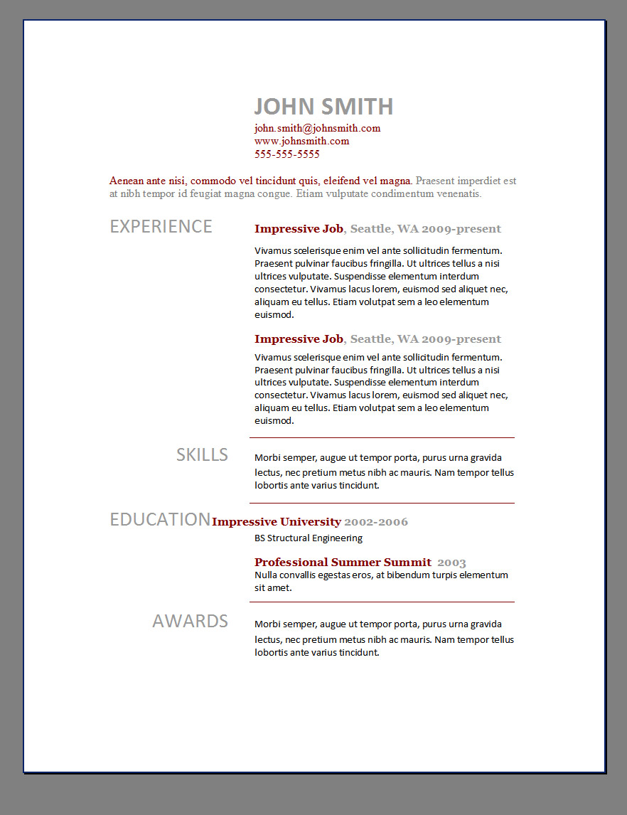 free resume cv template word - Free Cv Templates On Word