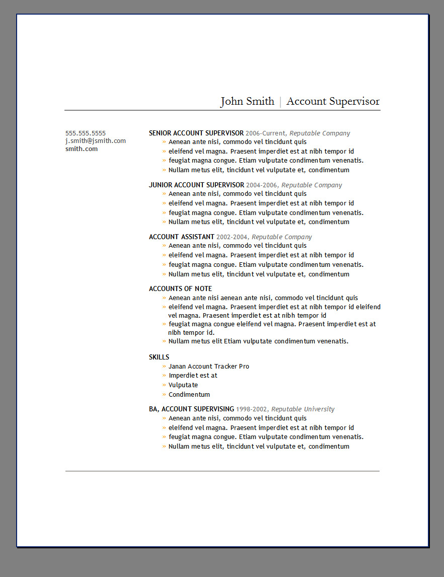 PrimerS  Free Resume Templates  Open Resume Templates