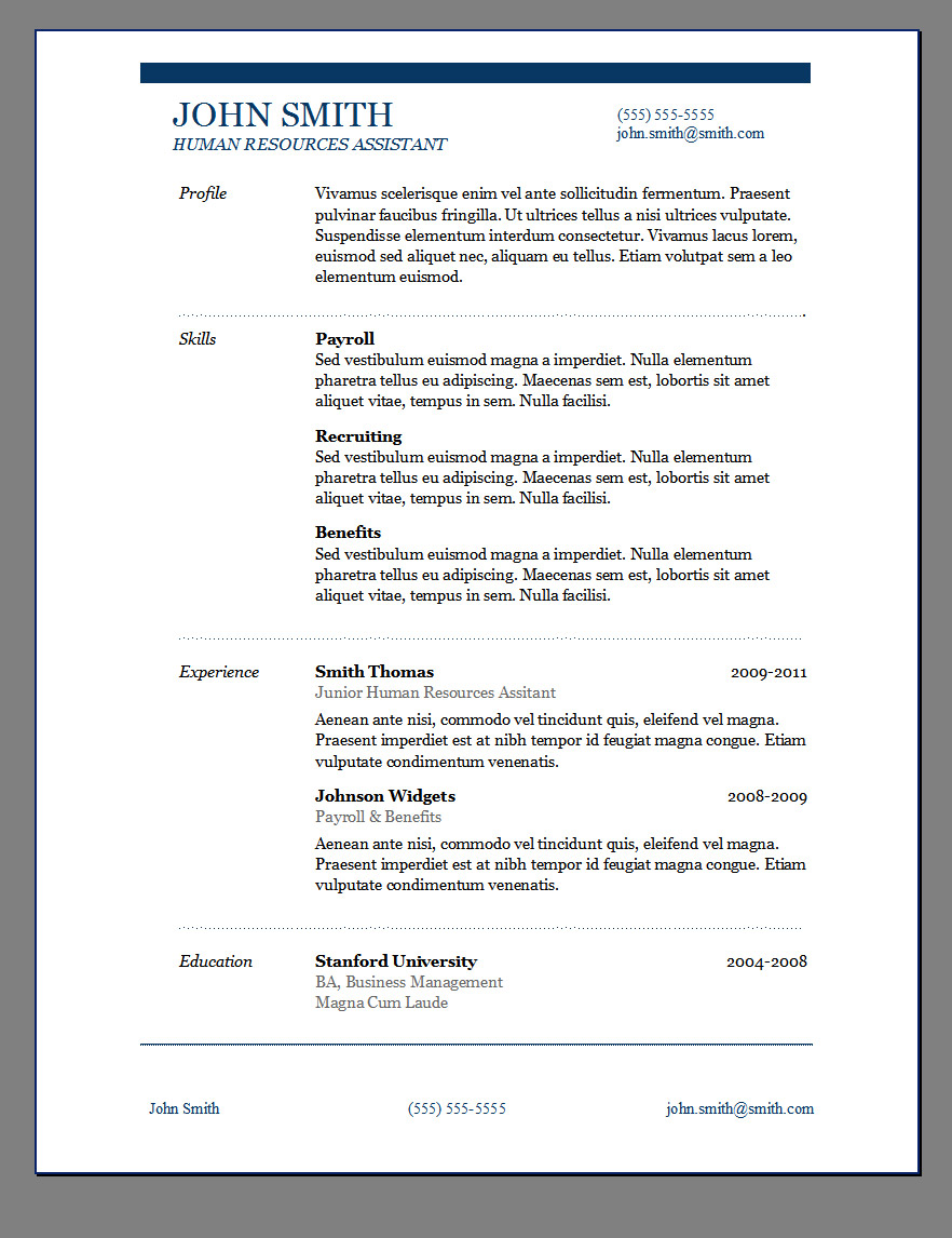 Primer s 6 free resume templates open resume templates for Free reume templates