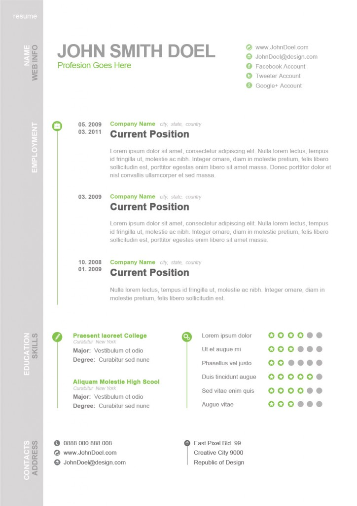 Awesome CV / resume PSD ← Open Resume Templates