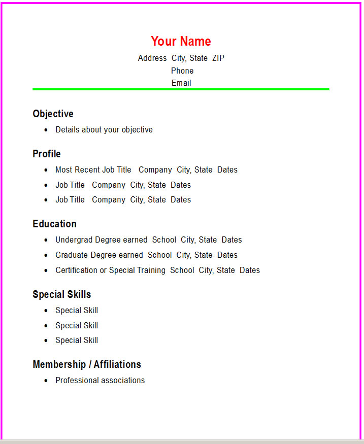 simple format for resume