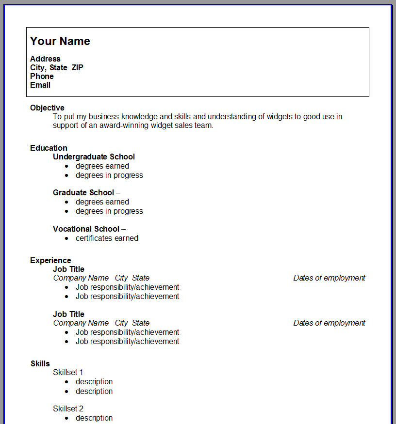 College Student Resume Template Open Resume Templates