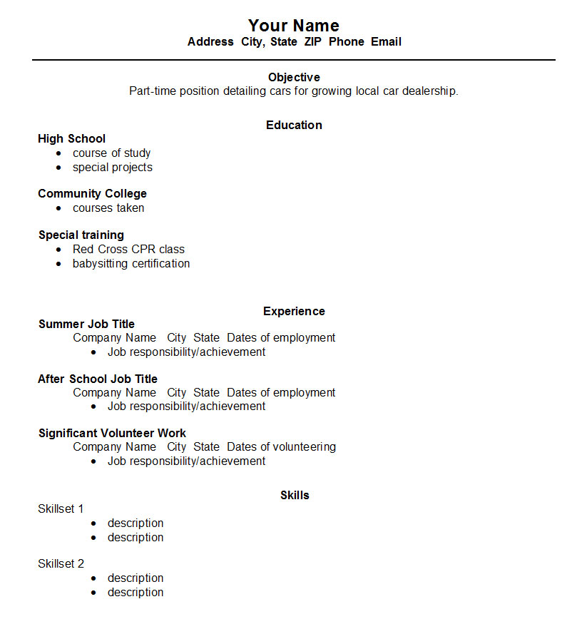 high school student resume template