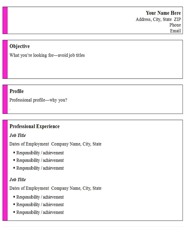 INFORMAL RESUME - Free Job Cv Example