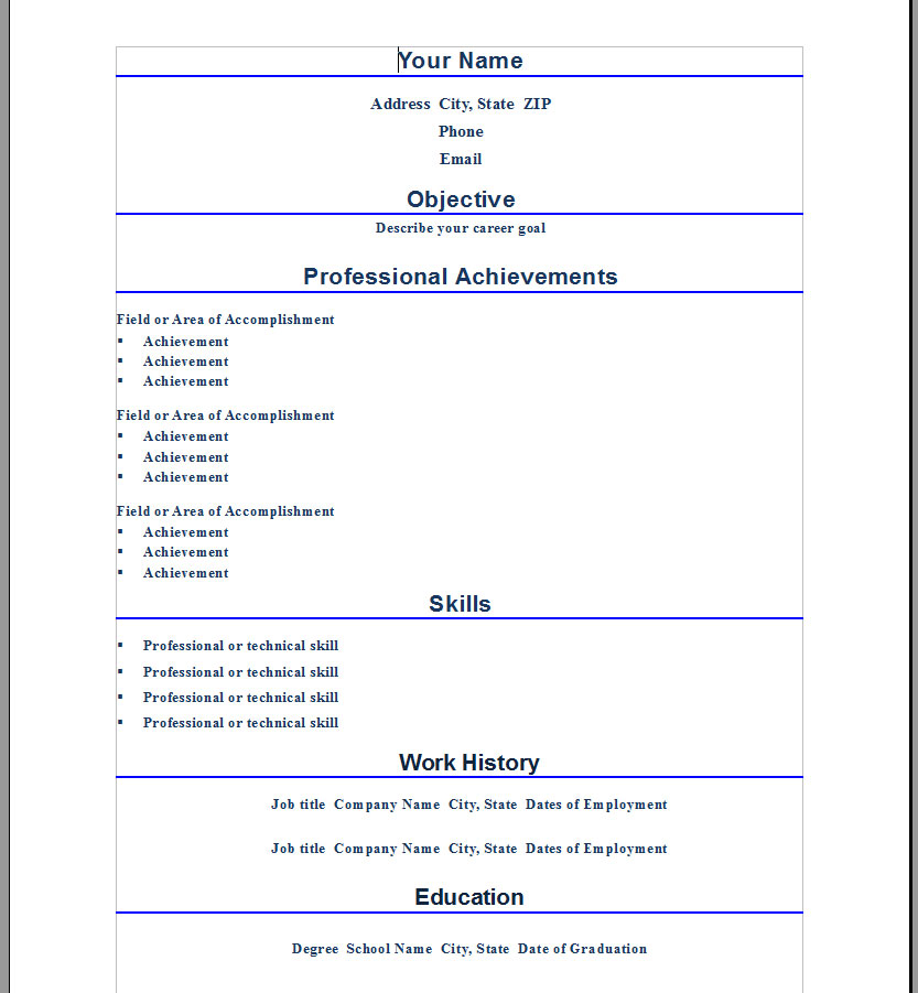 professional cv templates microsoft word - Resume Templates For Word 2010