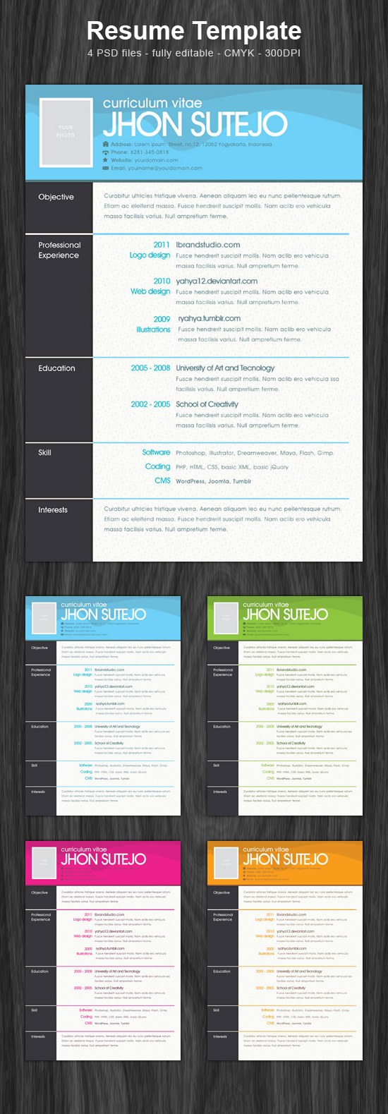 One Page Resume Template Psd  Open Resume Templates