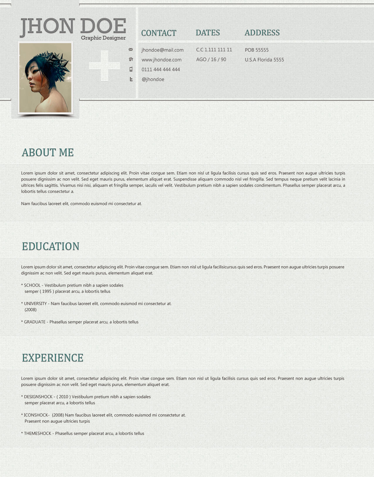 Clean and Stylish Photoshop Resume Template ← Open Resume Templates