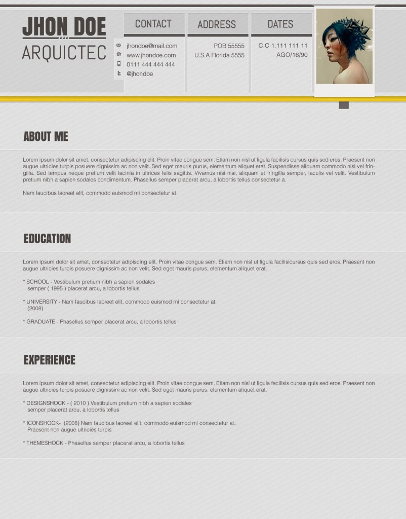 accented psd resume template open resume templates